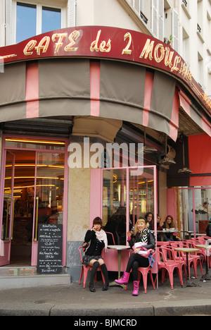entrance of Cafe des 2 Moulins famous for Amelie film Paris France - Stock Photo