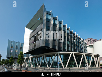 Westhafen Pier, office and event building, Westhafen, Frankfurt, Hesse, Germany, Europe - Stock Photo