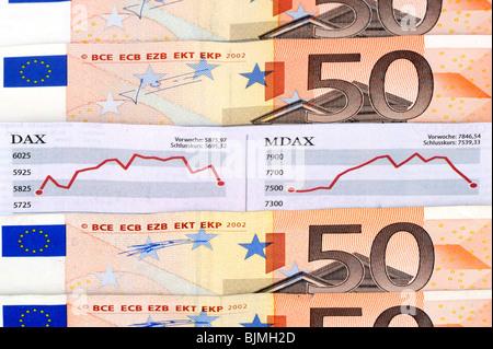 DAX, MDAX stock cam 50 euro banknotes, bills, symbolic image for stock market gains, stock market losses - Stock Photo