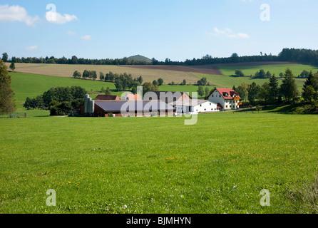 Typical local cattle farm, Hessian Rhoen Nature Reserve, Rhoen Biosphere Reserve, East Hesse, Hesse, Germany, Europe - Stock Photo