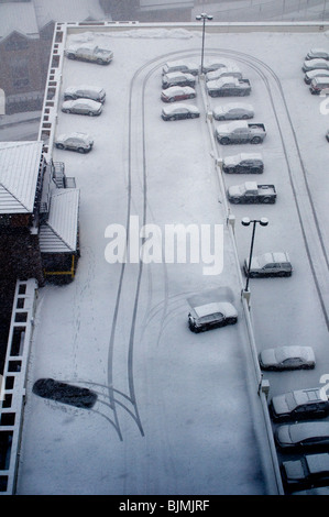 winter weather with cars and snow - Stock Photo