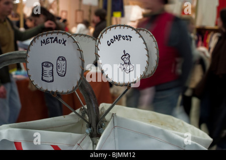 French Recycling Bins, Paper, Glass, Detail Signs, Environmental - Stock Photo