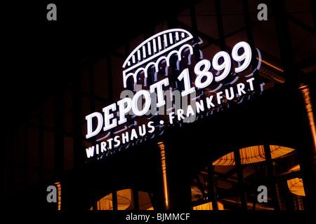 The Depot, 1899, Frankfurt traditional inn, Textorstrasse street, Frankfurt, Hesse, Germany, Europe - Stock Photo
