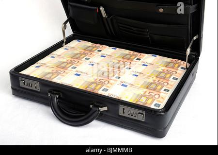 Suitcase full of money, 50 euro notes, symbolic image for prosperity, wealth - Stock Photo