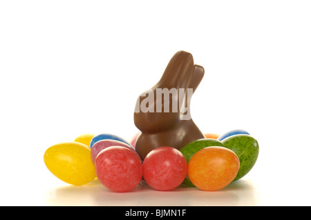 Chocolate Easter bunny and Easter eggs - Stock Photo