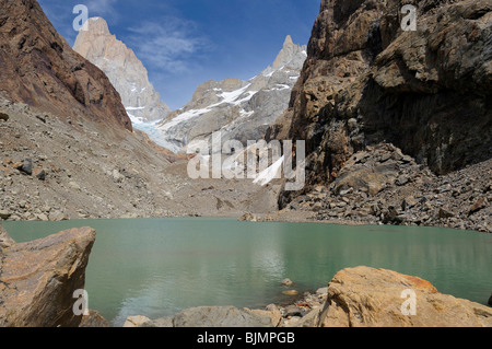 Glacier lagoon in front of the summit of Mt. Fitz Roy, El Chalten, Andes, Patagonia, Argentina, South America - Stock Photo