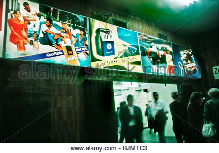 Berlin, Germany- Outdoor Advertising, on Subway Wall, Various Brands Cigarettes Posters. - Stock Photo