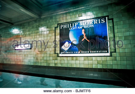 Berlin, Germany- Outdoor Advertising, on Subway Wall, 'Philipp Morris' Cigarettes Poster. - Stock Photo