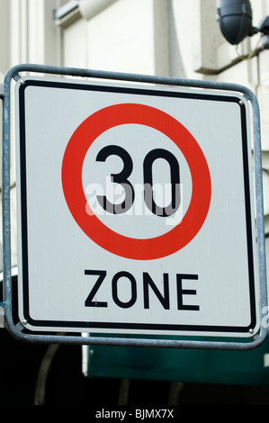 30 kilometer speed limit zone sign in the streets of Berlin Germany Europe - Stock Photo