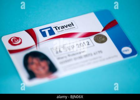 Senior citizens concessionary Travel South Yorkshire bus travel pass - Stock Photo