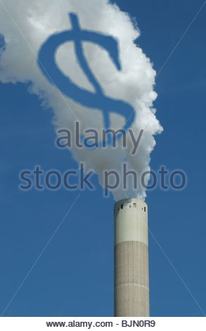 Concept - 'The Polluter Pays - Emission charges' $ symbol in the smoke coming from a coal fired power station. - Stock Photo