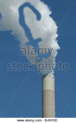 Concept - 'The Polluter Pays - Emission charges' £ symbol in the smoke coming from a coal fired power station. - Stock Photo