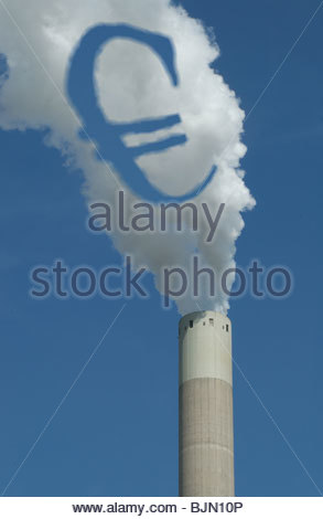 Concept - 'The Polluter Pays - Emission charges' € symbol in the smoke coming from a coal fired power station. - Stock Photo