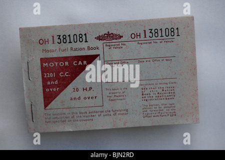 Motor Fuel Ration Book or booklet - Stock Photo