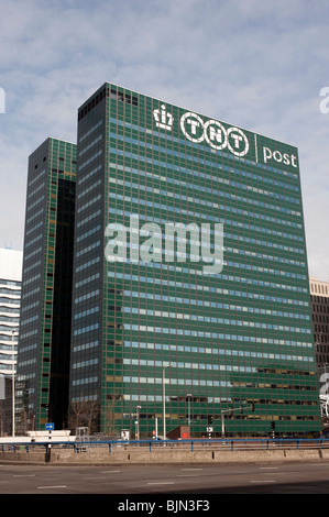 TNT postal company headquarters office tower in Central Business District in The Hague Netherlands - Stock Photo