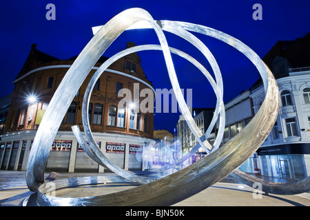 The 'Spirit of Belfast' sculpture by the artist Dan George in Victoria Square, Belfast, Northern Ireland - Stock Photo