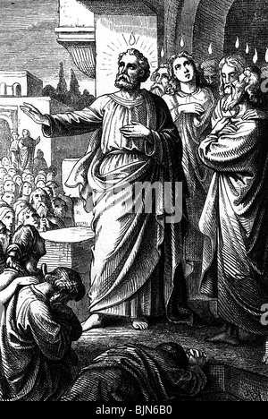 Saint Peter, + circa 64 AD, apostle, full length, preaching on Pentecost in Jerusalem, - Stock Photo