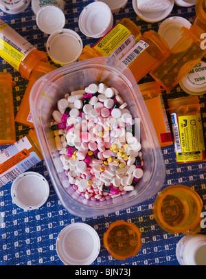 NEW YORK, USA - Prescription drugs, pills, capsules - Stock Photo