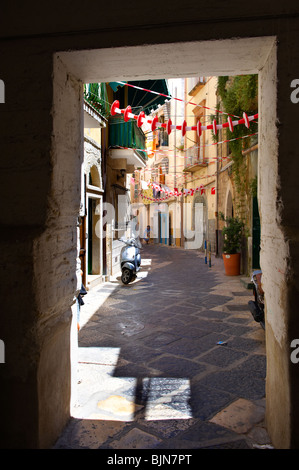 Narrow medieval steets of Bari old town, Puglia Italy - Stock Photo
