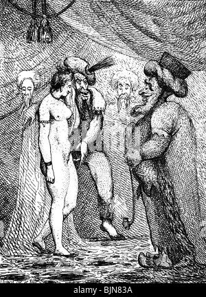 Judaism / Jewry and persecution of Jews, anti-Semitism, Jewish trader with Christ meat, British caricature, 18th - Stock Photo