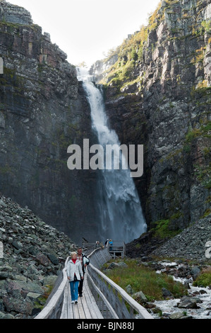 Sweden's highest waterfall in Njupeskär, in Fulufjället National Park, Sweden - Stock Photo