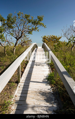 Boardwalk to Beach - Sanibel Island, Florida  USA - Stock Photo