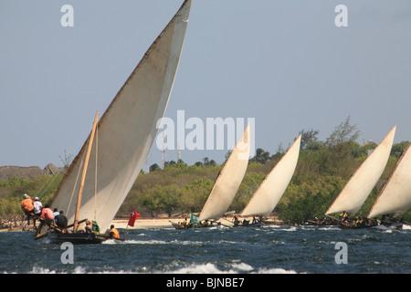 Dhows off the coast of Lamu kenya - Stock Photo