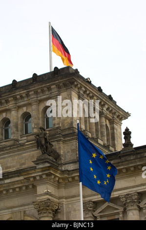 Closeup of the Reichstag Parliament building in Berlin Germany - Stock Photo