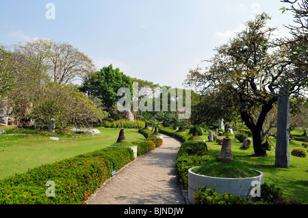 Asian park, paved path in park - Stock Photo