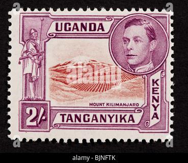 Postage stamp from Kenya, Uganda, and Tanganyika depicting Mount Kilimanjaro. - Stock Photo