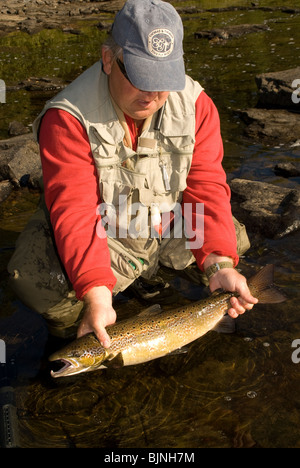 New Brunswick Fly Fishing Guide Netting Atlantic Salmon