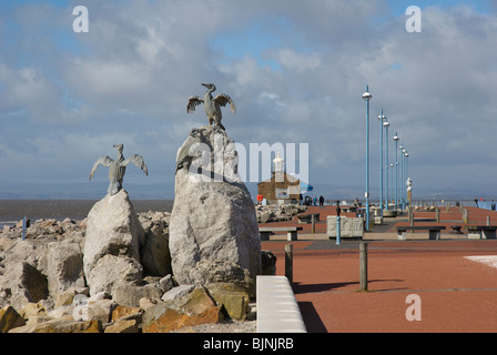 Sculpture of cormorants and Stone Jetty, Morecambe, Lancashire, England UK - Stock Photo