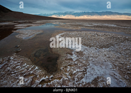 Sunrise in Badwater Basin, Death Valley National Park, California - Stock Photo
