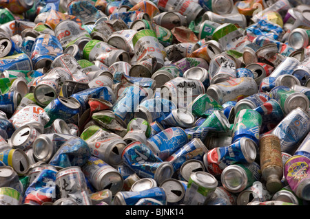 Used tin cans waiting for recycling . Hubei province. China. - Stock Photo