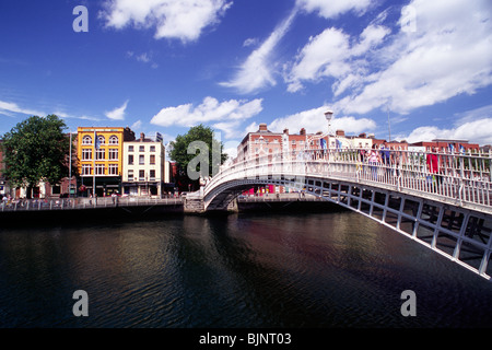 ireland, dublin, river liffey, ha'penny bridge - Stock Photo
