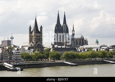 Great st martin church and cologne cathedral - Stock Photo