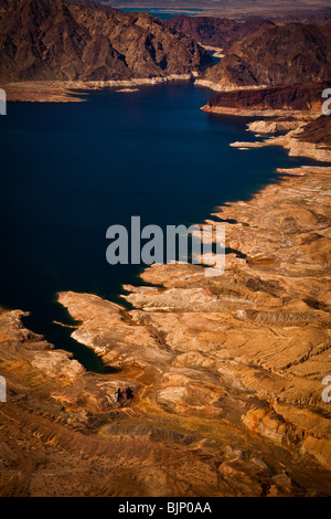 Aerial view of Bonelli Bay and a cinder cone on Lake Mead National Recreation Area, Arizona. - Stock Photo