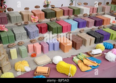 Natural soaps. Fira Natura. Lleida, Catalonia, Spain. - Stock Photo