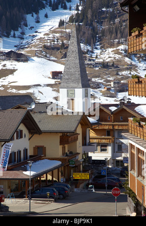 The Traditional Church In Corvara The Dolomites Italy Europe - Stock Photo