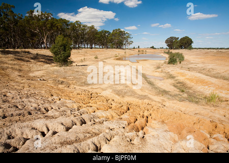A farmers watering hole on a farm near Shepperton, Victoria, Australia, almost dried up due to the drought. - Stock Photo