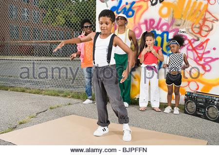 Boy break dancing - Stock Photo