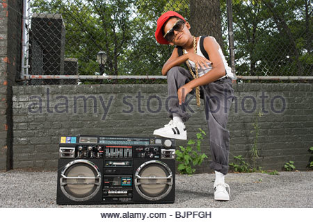 Boy with stereo - Stock Photo