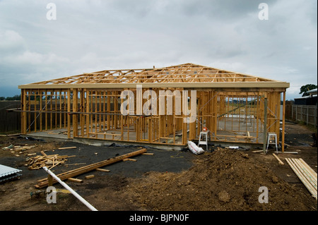 timber house frame - Stock Photo
