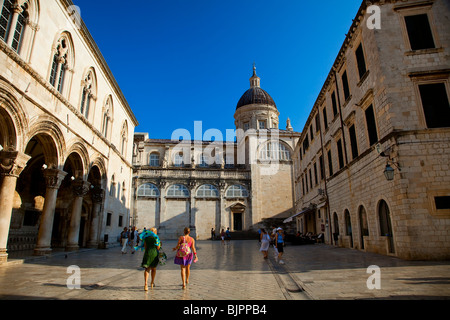 Rector's palace and Cathedral, Dubrovnik, Croatia - Stock Photo