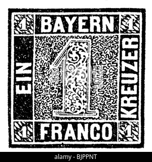 mail / post, postage stamps, Germany, 1 Kreuzer stamp 'Schwarzer Einser' (Black One), first German postage stamp, - Stock Photo