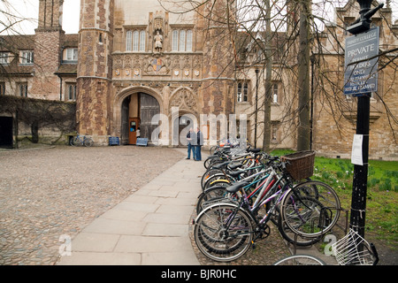Bicycles parked at Trinity College, Cambridge University, UK - Stock Photo