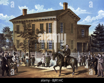 Print c1898 depicting Abraham Lincoln returning to his home in Springfield, Illinois, in 1860 after winning the - Stock Photo