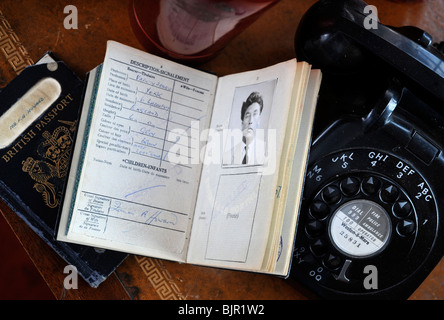 Frankie Howerd memorabilia including an old passport on display at Wavering Down House his former home - Stock Photo