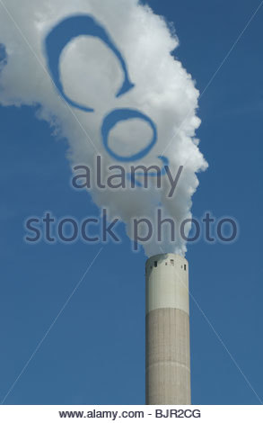 Concept - 'Carbon Dioxide emissions' CO2 symbol in the smoke coming from a coal fired power station. - Stock Photo