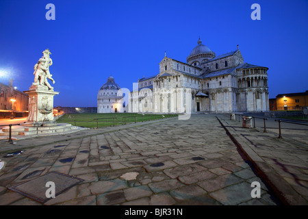 The leaning tower, the cathedral and baptistery in Piazza dei Miracoli, Pisa, Italy - Stock Photo